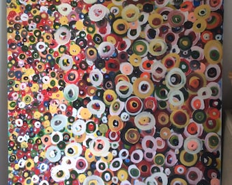 Painting with circles, large Acrylic painting, signed, very large abstract painting