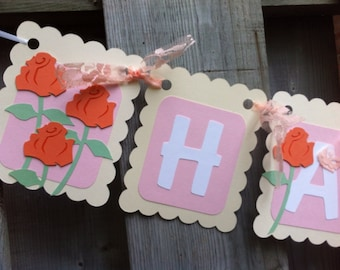 Roses and Lace Happy Birthday banner, romance theme decorations, garden theme birthday, birthday party decorations, first birthday