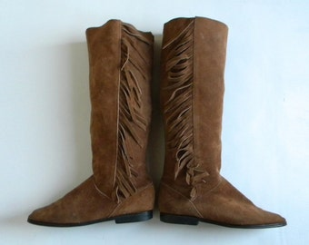 Vintage Boots 70s Brown Suede Leather Fringe Boots Flat Riding Boots, 8 38
