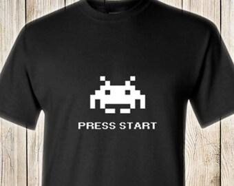 Atari Space Invaders Press Start RETRO T-Shirt Color Black