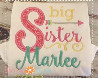 Big Sister Arrow Applique Design 4x4, 5x7, 6x10, 8x8