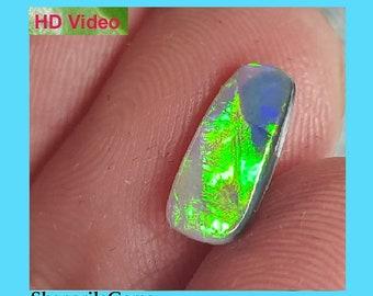 SALE 11.25mm Lightning Ridge Black opal blue green turquoise baguette oblong 11.25 by 5.10 by 2.45mm