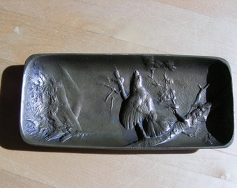 Antique Berndorf brass pin tray with grouse relief