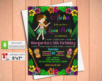 Printable invitation etsy printable invitation luau girl party in pdf with editable texts tiki luau for girl solutioingenieria Choice Image
