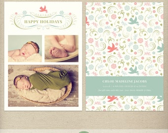 5x7 Christmas Birth Announcement Template, Holiday Birth Announcement, Christmas Baby, Holiday Baby, New Baby, Christmas Photo Card - H39