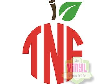 Apple monogram for teachers, Teacher monogram decal, Teacher appreciation gift