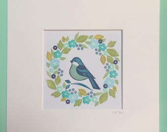 Bluebird Garland - unique hand stamped art print