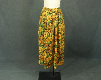 vintage 90s Silk Skirt - 1990s Floral Maxi Skirt Sz M
