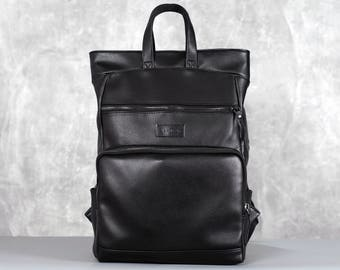 Laptop backpack men,Men backpack,Mens Laptop Backpack,Wax leather backpack,Black leather backpack,Leather backpack men,Roll Black Backpack
