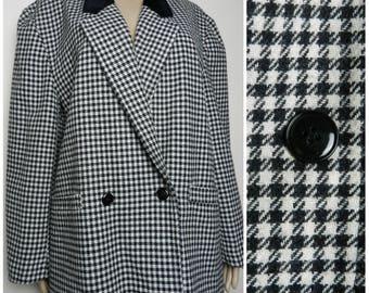 80s 90s WOOL boxy oversized double breasted HOUNDSTOOTH jacket black + white houndstooth check VELVET collar U.K.