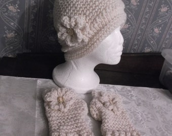 Trendy Ivory/Creme  Handmade Knitted/Crochet Women Slouch Hat With Matching Fingerless GLoves
