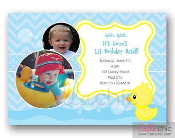 Rubber duck birthday invitations rubber ducky birthday invitation printable boy with multi photo duck 1st birthday invite filmwisefo Image collections