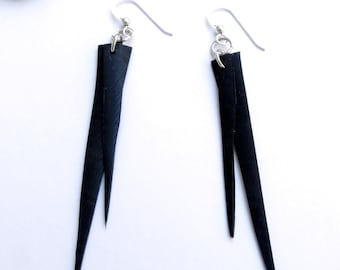 Tapered Point Earring-Black Rubber earrings-Edgy-Goth-Minimalist-Modern-Sterling Silver-Black Point-black point-pointy-All Black-