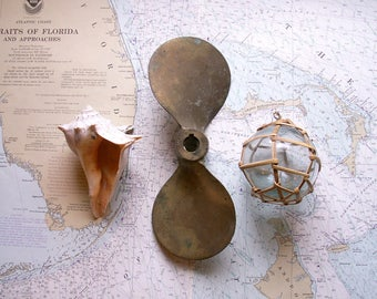 Vintage Brass Boat Propeller - Two Bladed Nautical Decor