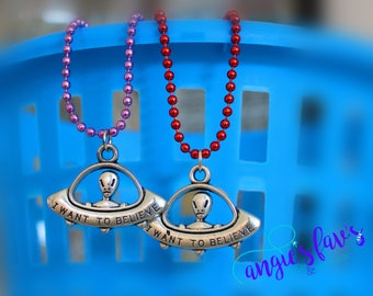 Ball Chain Necklaces, Alien Pendant