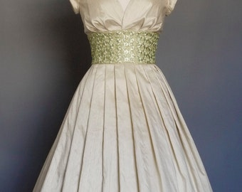 Champagne Silk Dupion & Green Lace Sweetheart Tea Length Wedding Dress - Made by Dig For Victory