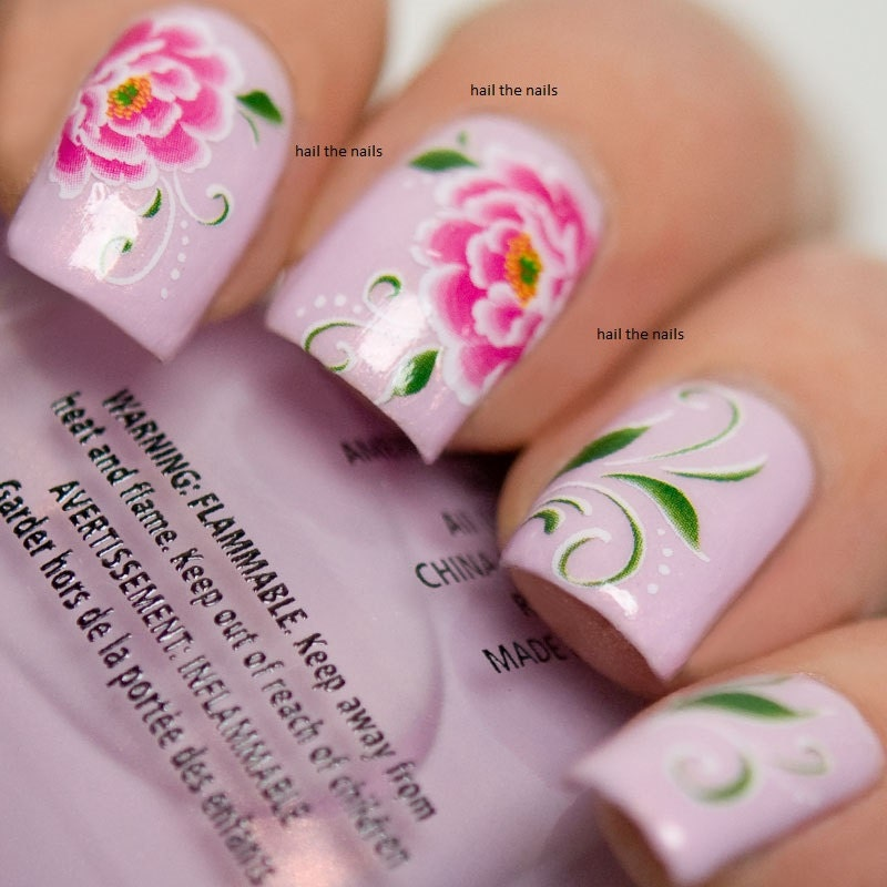 Pink Peony Lily Nail Wraps Nail Art Nail Decals Water