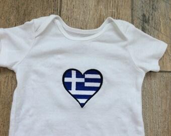 Greek Onesie Embroidered Greece Flag bodysuit Greek Heart Greek Baby