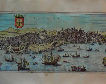Lisbona/Lisboa - Cm. 80 x 40 Inches 31,5 x 15,6 - Water-coloured by hand. Since 1930s