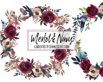 Boho Chick Burgundy  & Navy Watercolor Floral Wreaths Clipart Bordo Dark Red Flowers Wedding Clipart PNG Wine Color Indigo Invitation Cards