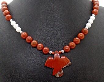 Red Jasper Thunderbird Necklace Natural Stone Dove Jewelry