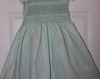 1950 Polly Flinders Pale Green Handsmocked Embroidered Modest Girl Dress - SZ. 8-10YR