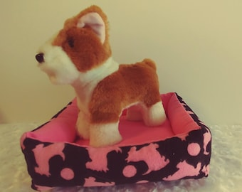 """18"""" doll dog bed, Pink Scotties for dolls like American Girl and Our Generation, beanie baby bed, stuffed animal bed"""