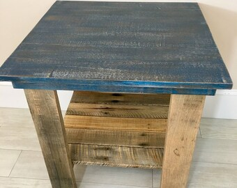 SOLD Rustic Coastal Handmade Navy Side Table