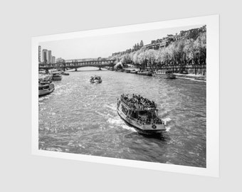 River Seine Paris France Archival Quality Art Print, 1:50 Limited Edition / wall art / home decor / modern / classic / vintage /. bank