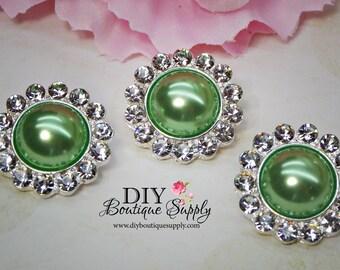 5 pcs 21mm Metal Rhinestone Buttons Green Pearl Buttons Embellishment Pearls Flatback Headband Supplies Crystal flower centers 835045