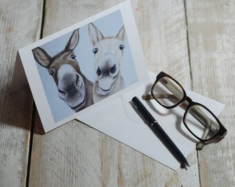 Greeting Card Two Cute Donkeys. Blank inside for your own message, printed in Dorset, perfect for Donkey Lovers!