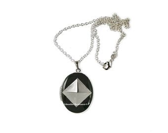 Geometric Locket Inlaid in Hand Painted Black Enamel Pyramid Inspired Necklace with Personalized and Color Options