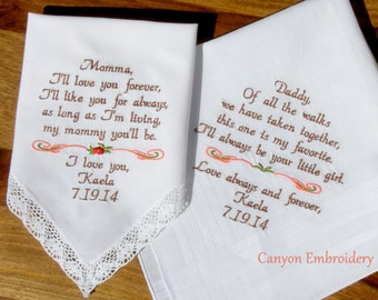 Wedding Handkercheif, Embroidered Wedding Handkerchiefs Wedding Gift, Mother and Father of the Bride Gift for Mom & Dad by Canyon Embroidery
