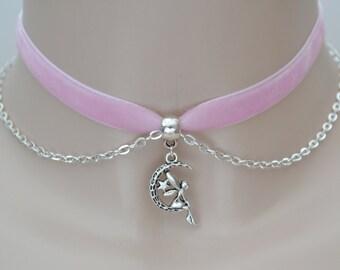 FAIRY MOON CHAIN Pink Velvet Choker, 10mm Ribbon, 16 Colours