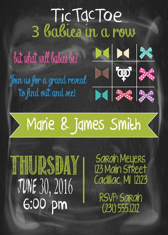 Gender reveal baby shower invitation triplets baby shower like this item filmwisefo Choice Image