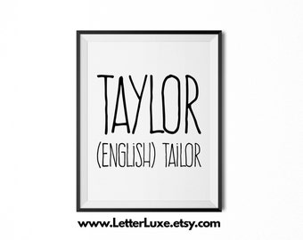 Taylor Name Meaning Art - Printable Baby Shower Gift - Nursery Printable Art - Digital Print - Nursery Decor - Typography Wall Decor