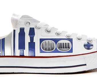 R2D2 Droid style wars in the stars illustration custom converse low top shoes