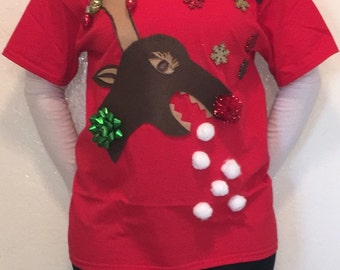 Ugly Christmas Sweater, Ugly Christmas T-Shirt, Christmas Sweater, Christmas T-Shirt, Rudolph T-Shirt