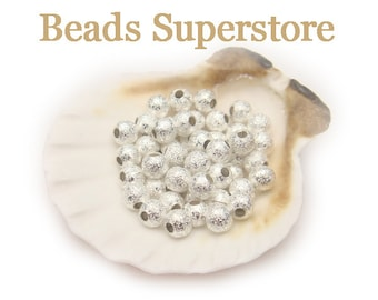4 mm Silver-Plated Brass Stardust Round Bead - Nickel Free and Lead Free - 50 pcs