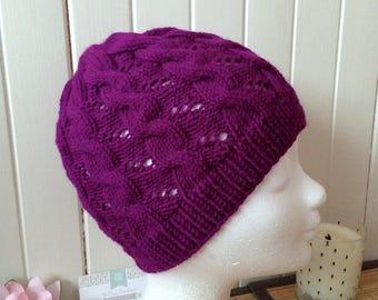 Hat Hermione knit, one size, magenta purple soft acrylic