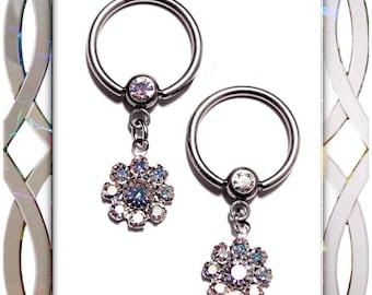 Pair Swarovski Sparkling Crystal Flower 14G Nipple Ring Body Jewelry