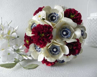 Elegant Red, White and Blue Bridal Bouquet and Groom Boutonniere - Wedding Bouquet Anemone Dahlia Marguerite Blooms Bridesmaids bouquet