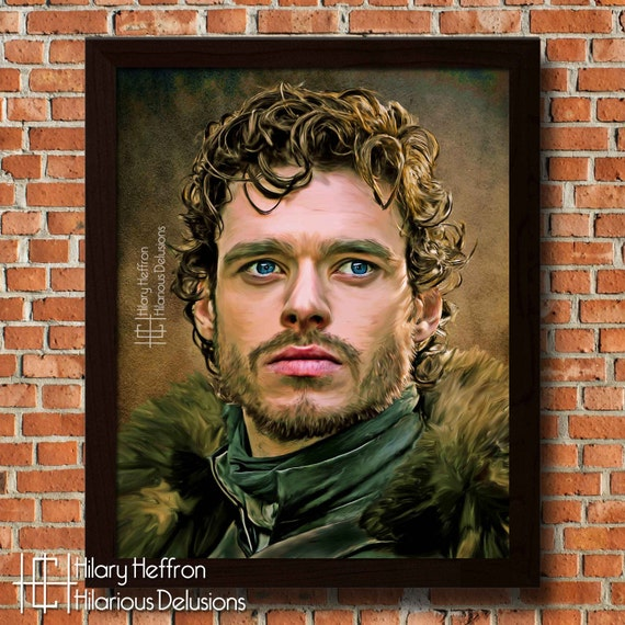 Robb Stark Portrait Digital Painting Print Game Of Thrones