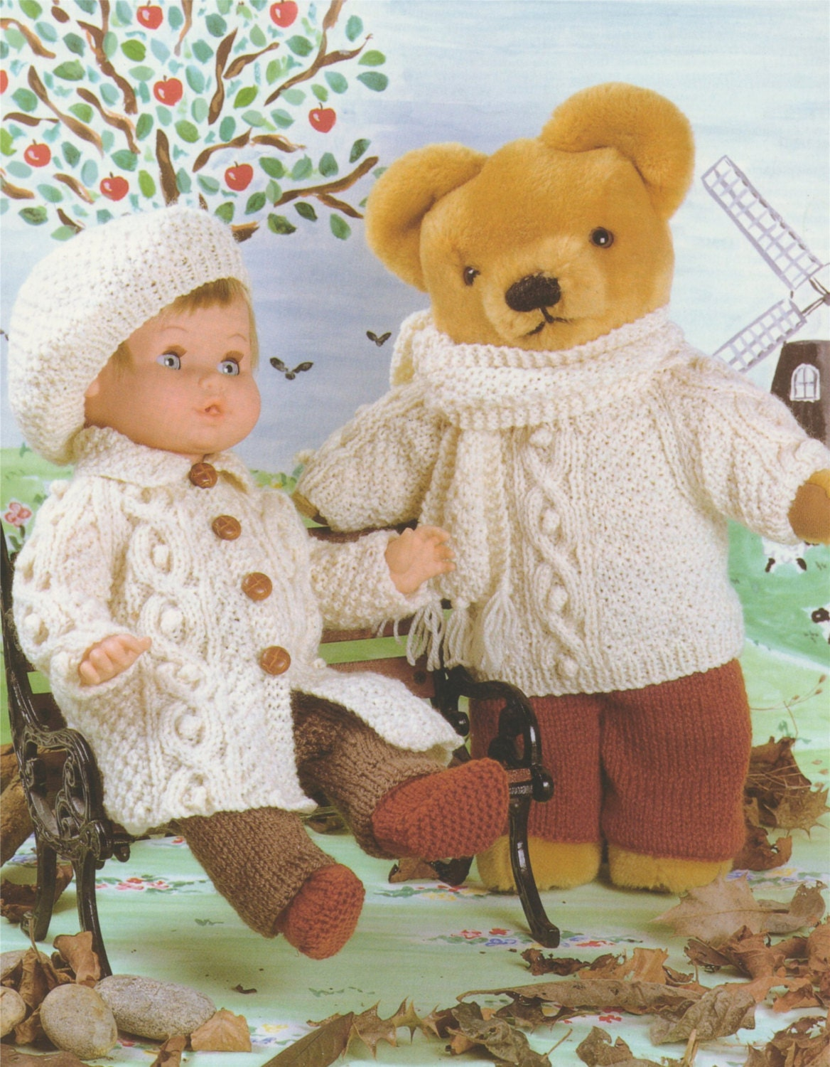 Doll and Teddy Bear Clothes PDF Knitting Pattern : 12 - 14, 15 - 18 ...