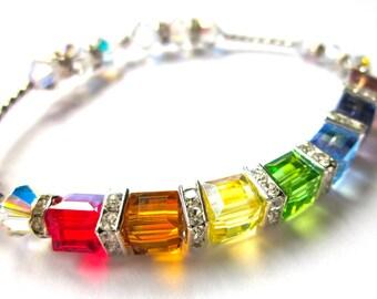 Covenant Cube Bracelet,  Swarovski Bracelet, Rainbow Bracelet, Christian Jewelry, Best Seller