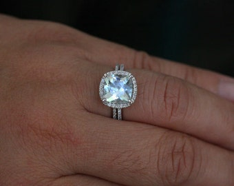 Aquamarine Engagement Ring Aquamarine Ring with Cushion 9mm and Diamond Halo Wedding Ring Set