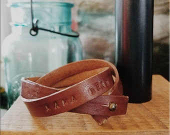 Custom Hand Stamped Leather Bracelet