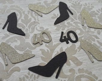 40th High Heels Shoes Confetti Birthady Party Favors Party Decorations