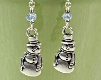 Snowman Earrings - Silver Snowman Earrings - Silver Earrings - Winter Earrings - Christmas Earrings