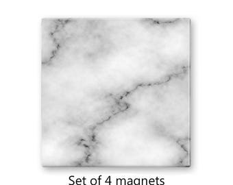 Faux marble magnet set, fridge magnets, refrigerator magnets, set of 4 decorative magnets, kitchen decor, large magnets, gray magnets
